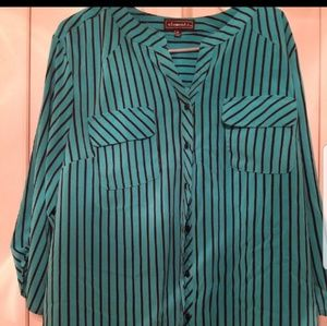 Blue and black striped blouse